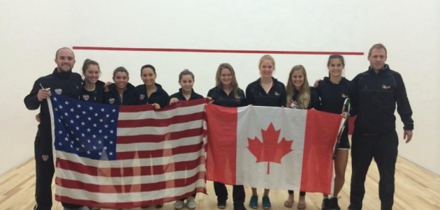 U.S. World Team members Olivia Blatchford (far right) and Sabrina Sobhy (far left) part of the US team who defeated World Teams hosts Canada in the Pan Ams final