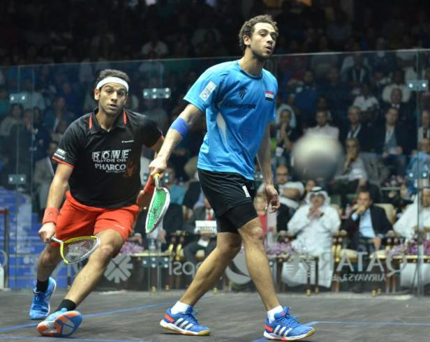 Ramy Ashour and Mohamed Elshorbagy in action in the World Championship final