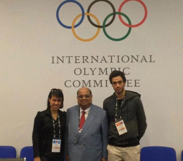 WSF boss Ramachandran with Nicol David and Ramy Ashour in Buenos Aires