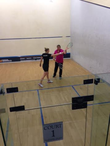 Laura on court with David Pearson