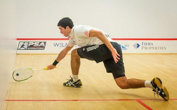 Diego Elias reaches for a drop shot