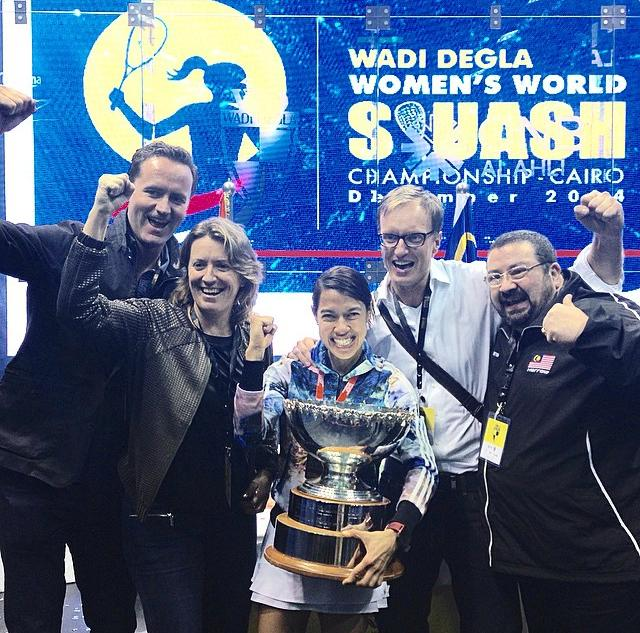 Nicol David celebrates with her team at court side in Cairo, from left: Rob Suttton (Nicol's new manager from 2015 onwards), coach LIz Irving, Nicol, Frank Cabooter (psychologist), Ronald Fauvel (physio)