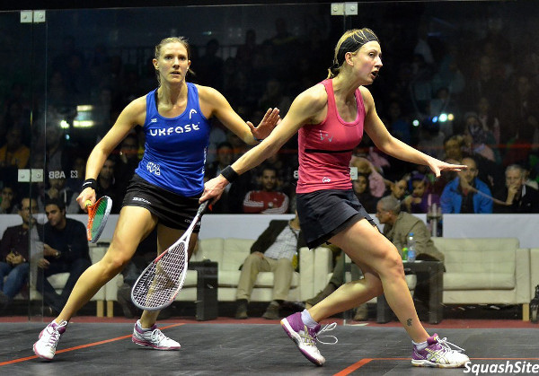Alison Waters (right) holds the backhand line against Laura Massaro