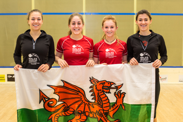 DRAGONS ROAR: The Welsh team are all smiles in Canada