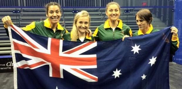 The Australian team fly the flag at White Oaks
