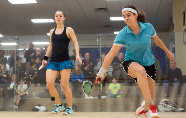 Yathreb Adel (right) in action against Coline Aumard