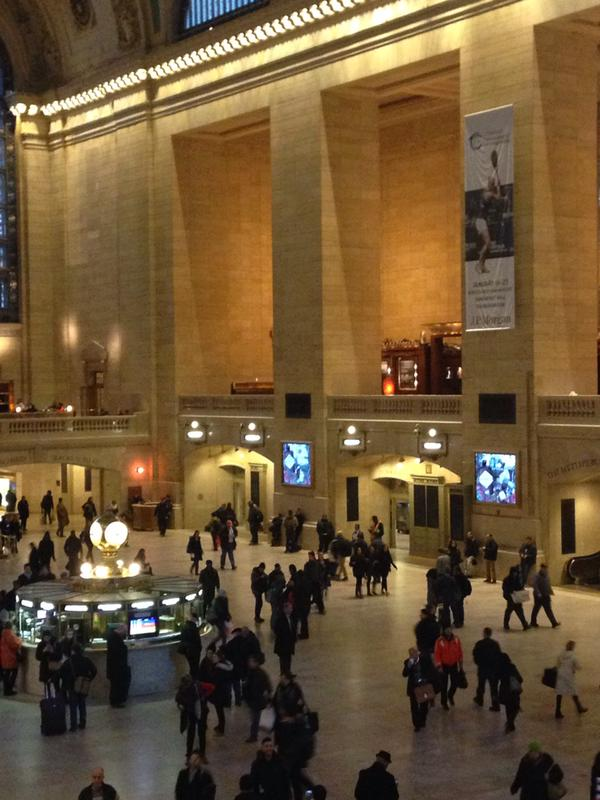 Laura Massaro Tweets a picture of her banner hanging inside Grand Central Terminal