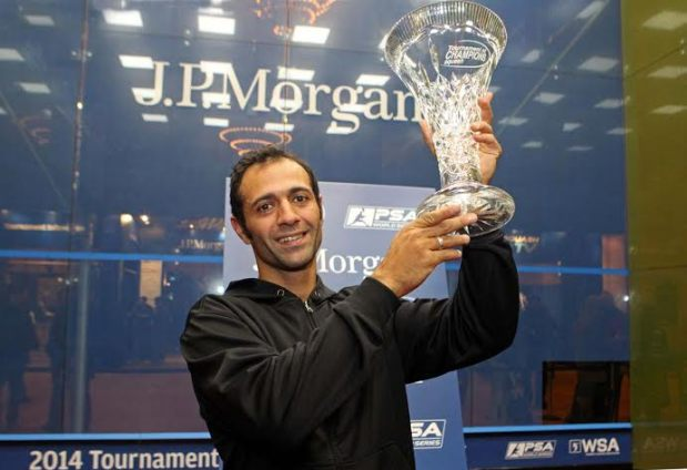 Amr Shabana holds aloft the ToC trophy in 2014
