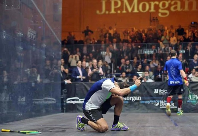 Moment of victory: Miguel Angel Rodriguez savours his success against Gregory Gaultier at Grand Central Terminal