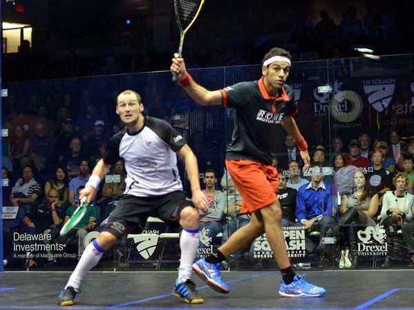 Mohamed Elshorbagy and Gregory Gaultier in action during the US Open