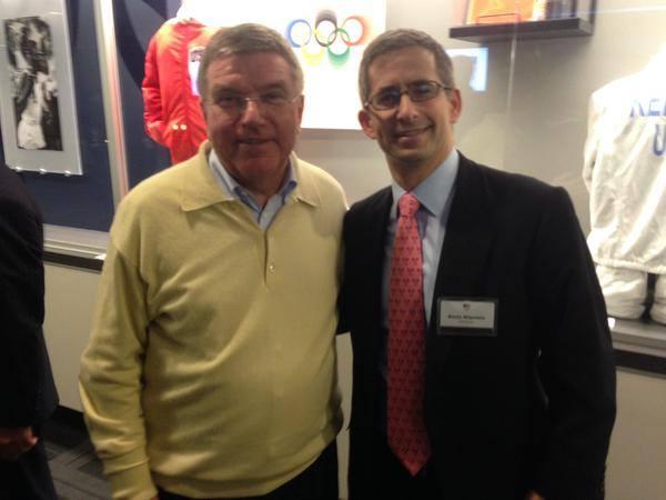 US Squash chief Kevin Klipstein (right) with IOC boss Thomas Bach