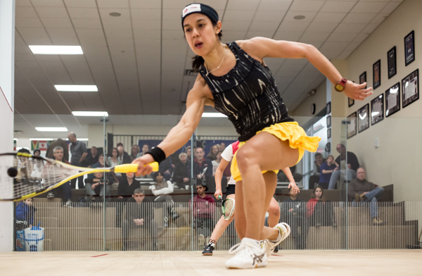 Nicol David in action in Cleveland