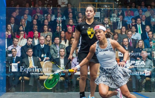 Nicol David and Raneem El Welily in action in Chicago