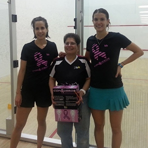 Kathleen (centre) with Canadian number one Sam Cornett (right) and Alex Norman