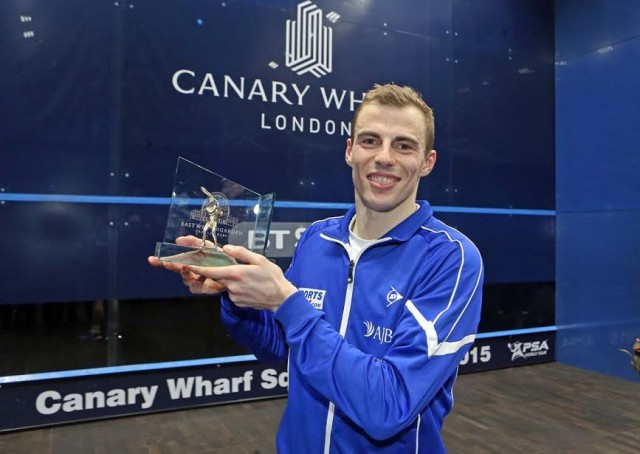 Champion: Nick Matthew enjoys his fifth Canary Wharf title