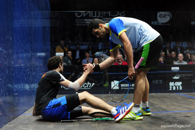 Floored: Omar Mosaad helps Ramy Ashour to his feet in Zurich.
