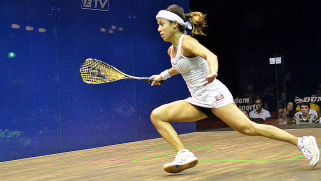 Nicol David gets her racket ready as she moves towards her next shot
