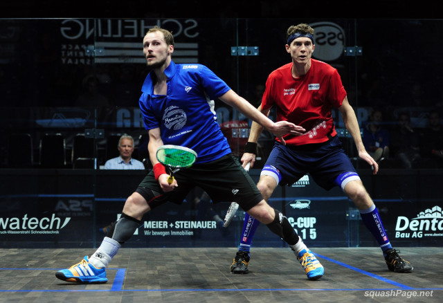 Gregory Gaultier (left) and Cam Pilley in action