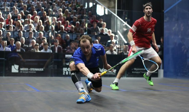 Drive time: Gregory Gaultier on the attack against Simon Rosner