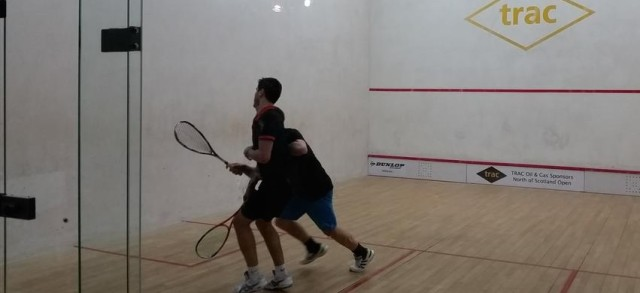 Arthur Moineau and Tom De Mulder (blue shorts) get up close and personal in Aberdeen