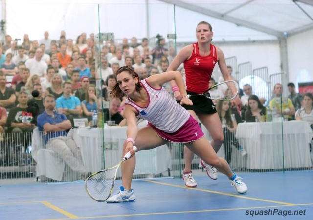 Camille Serme and and Line Hansen in action in the final