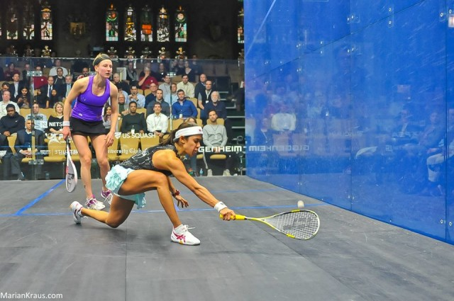 Nicol David and Alison Waters in action in Chicago
