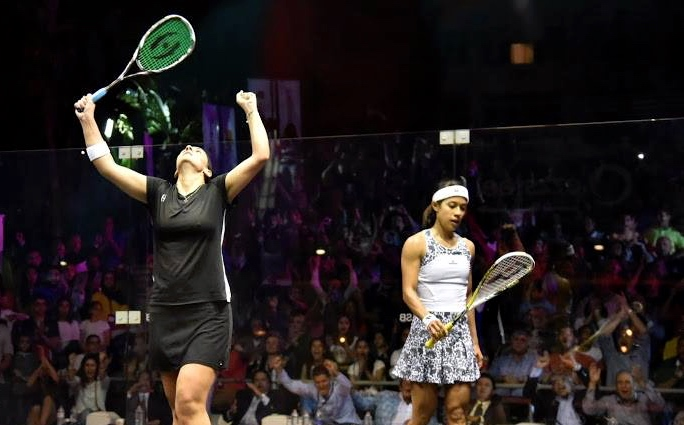 Omney Abdel Kawy celebrates victory over Nicol David