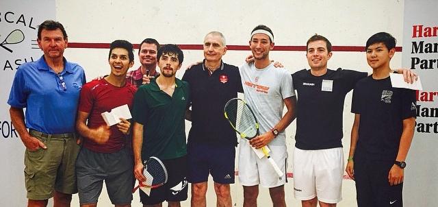 Charlie Johnson (third right) enjoys his win at Santa Clara
