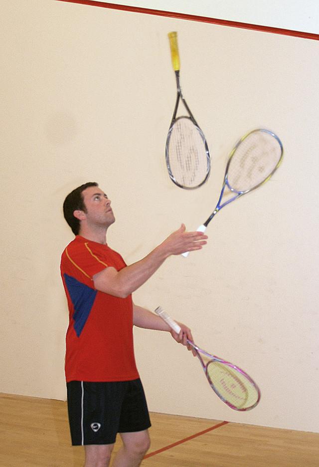 Kent Open sponsor Jonny Poweel shows his racket control