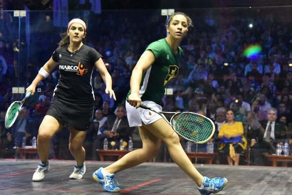 An all-Egyptian final with Raneem El Welily (right) and Omneya Abdel Kawy