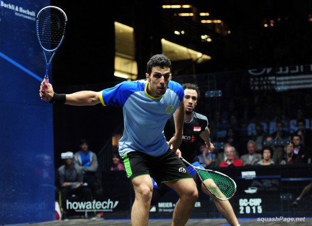 Omar Mosaad in action against fellow Egyptian Ramy Ashour at the Grasshopper Cup. Picture by IRENA VANISOVA