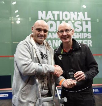 Volunteer Brian Grimshaw with national coach Chris Robertson