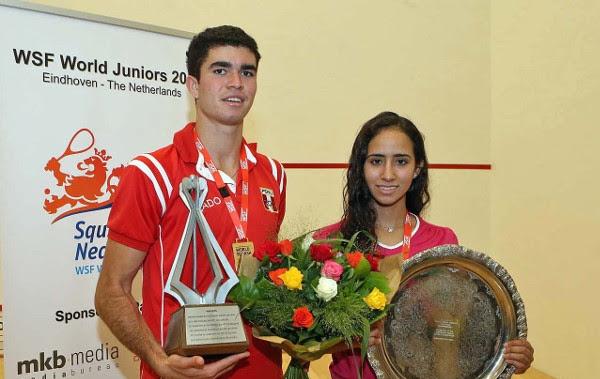 The 2015 world junior champions Diego Elias and Nouran Gohar
