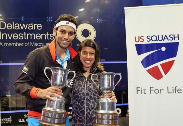 Mohamed Elshorbagy and Nicol David celebrate their US Open triumphs