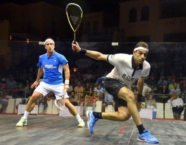 World number one Mohamed Elshorbagy in action against Peter Barker