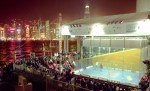 2003 Womens World Open Squash. Court erected by Hong Kong harbour
