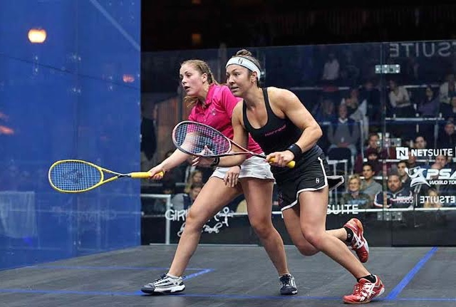 Amanda Sobhy (right) in action against Tesni Evans of Wales