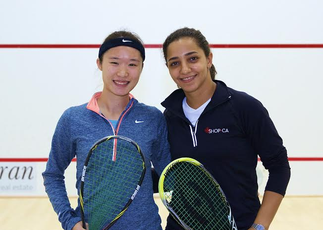 Top seed Raneem El Welily (right) and Joey Chan