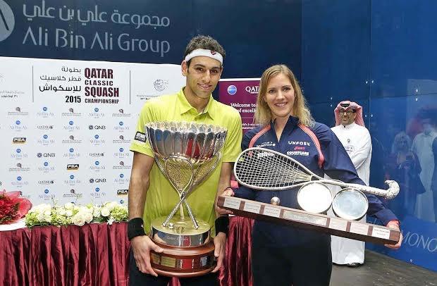 Qatar champions Mohamed Elshorbagy and Laura Massaro