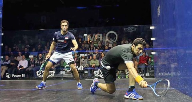Omar Mosaad on the way to victory against Ramy Ashour