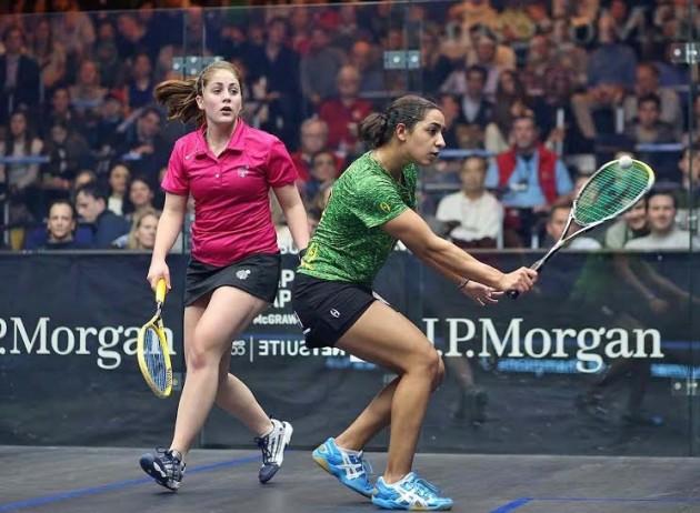 Raneem El Welily in action against Tesni Evans
