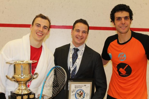 Nick Matthew and Omar Mosaad after the final