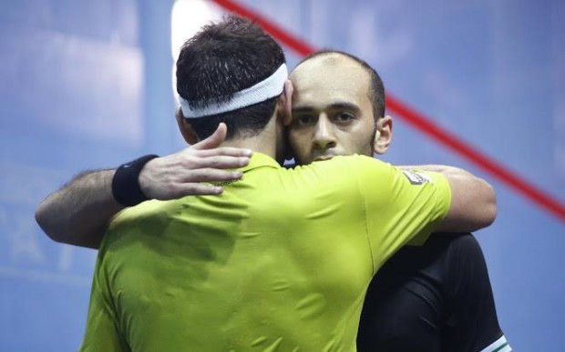 Mohamed and Marwan hug after their semi-final in Colombia