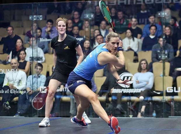 Laura Massaro lines up a backhand against Vicky Lust