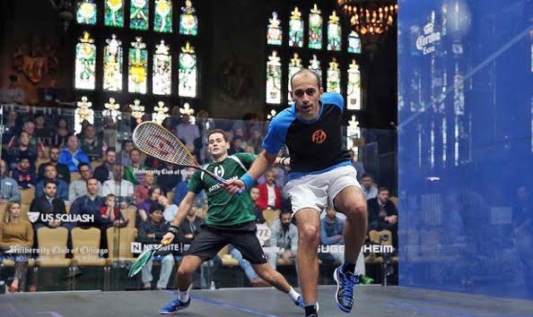 Marwan Elshorbagy in action against Karim Abdel Gawad