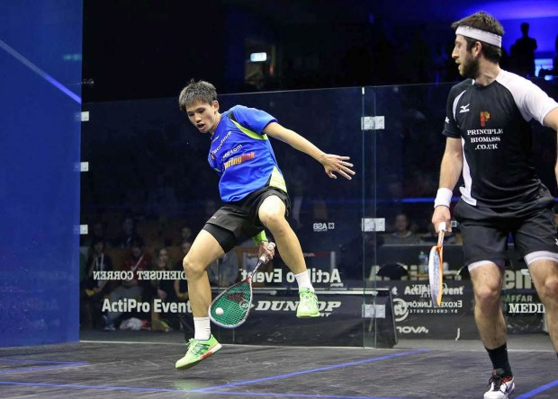 Could be painful: Max Lee tries an unorthodox shot against Daryl Selby