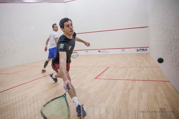 Ali Farag stretches for the ball against Gregoire Marche