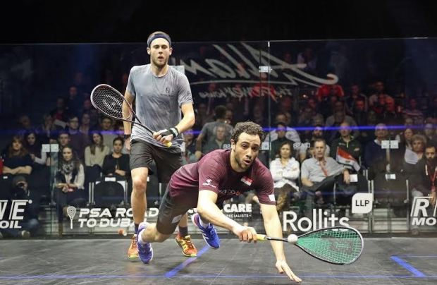 Ramy Ashour dives against Ryan Cuskelly