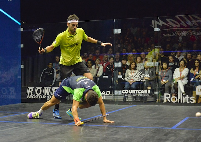 Mohamed Elshorbagy has Miguel Rodriguez on his knees