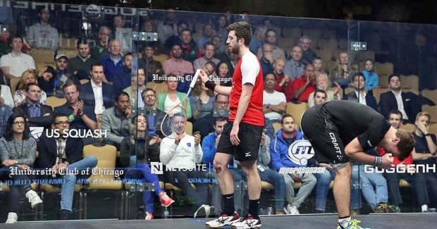 Daryl Selby can't believe it, and nor can Mathieu Castagnet! Picture by STEVE LINE (www.squashpics.com)